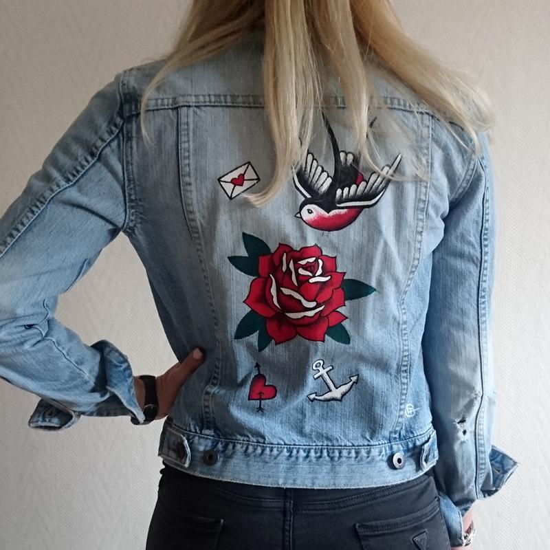 Inked Denim Jacket by CLM Art