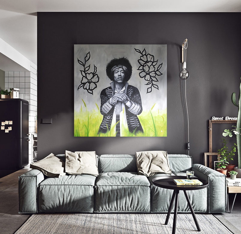 Acrylic painting JIMI HENDRIX in interior by CLM Art