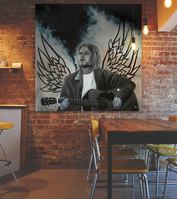 Acrylic painting on wooden board of Kurt Cobain | CLM Art