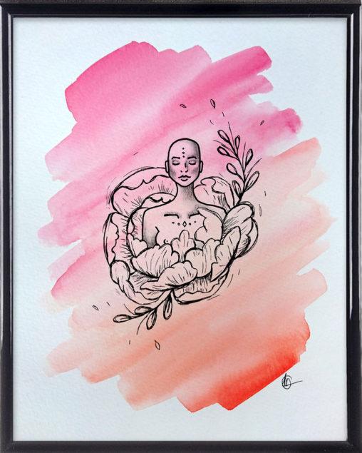 ZEN meditatie spirituele tekening in lijst | CLM Art