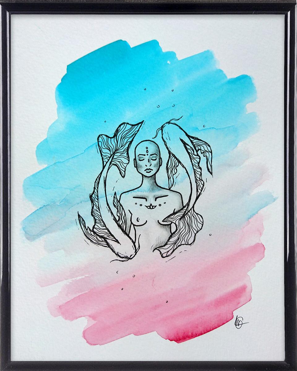 ZEN Sterrenbeeld Vissen spirituele tekening in lijst | CLM Art