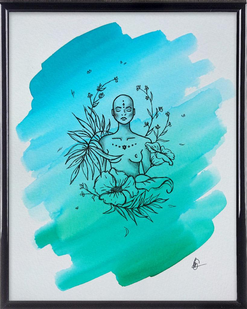 ZEN Flower Power spirituele tekening in lijst | CLM Art