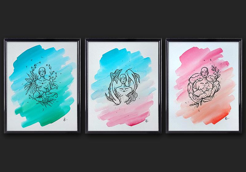 ZEN serie - Spirituele tekeningen - 20 x 50 cm