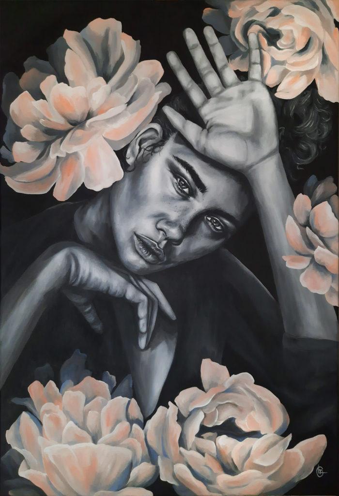 LILY Modern schilderij - Rozen en vrouw | CLM Art