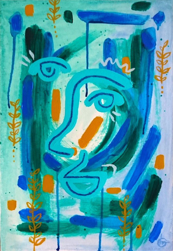 Abstract painting tuqouise blue form CLM Art