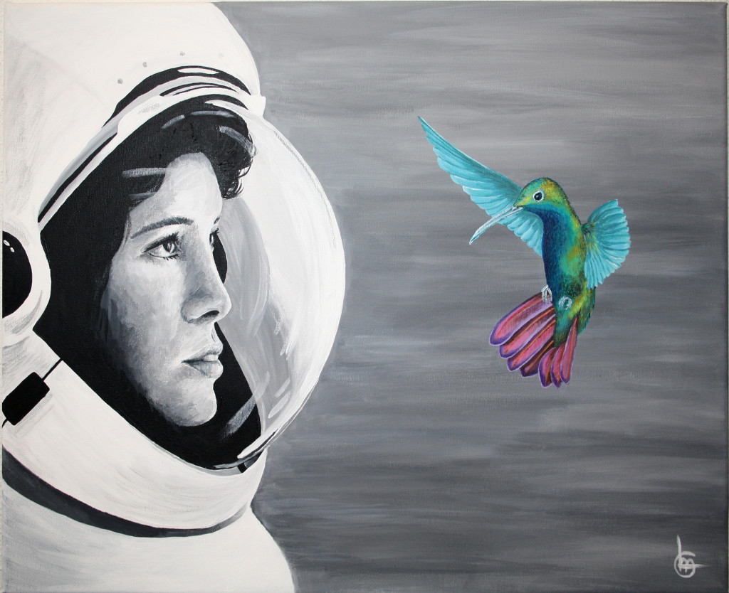 Schilderij Acryl Astronaut Kolibrie